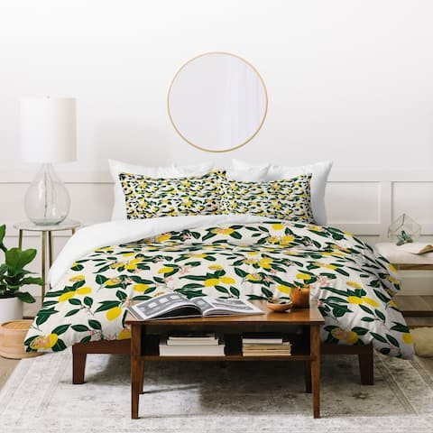 Deny Designs Lemons and Leaves 3 Piece Duvet Cover Set