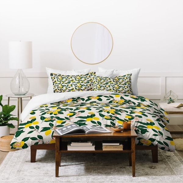 Deny Designs Lemons and Leaves 3 Piece Duvet Cover Set. Opens flyout.