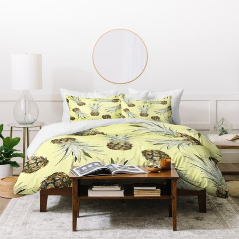 Deny Designs Pineapple Jam 3 Piece Duvet Cover Set
