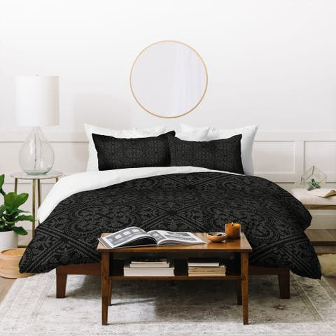 Porch & Den Oxalis Black Geometric 3-piece Duvet Cover Set