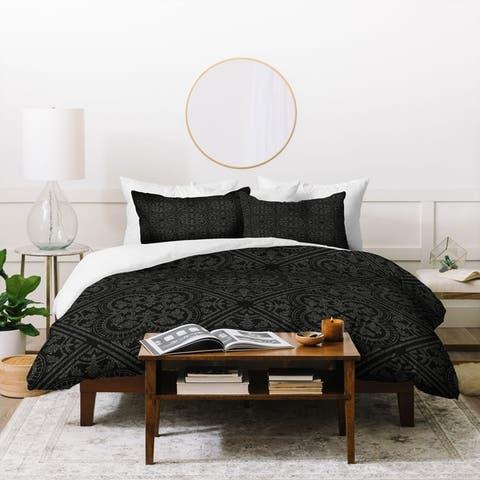 Porch & Den Oxalis Black Geometric 3-piece Duvet Cover Set
