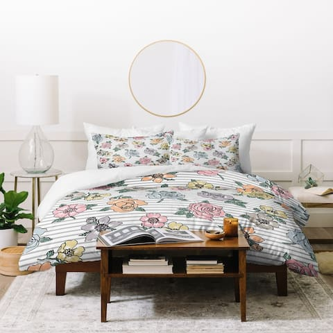 Deny Designs Rose Sketch 3 Piece Duvet Cover Set