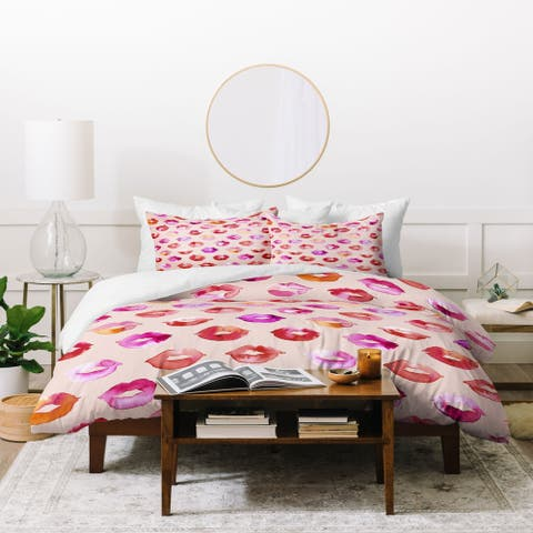 Porch & Den Padgett Pink and Red Lips 3-piece Duvet Cover Set