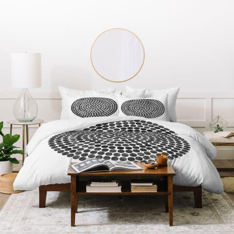 Deny Designs Mandala Dot Black 3 Piece Duvet Cover Set