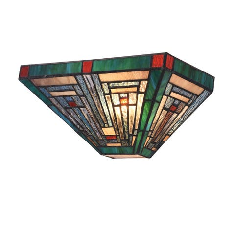 Gracewood Hollow Kamatenda 1-light Mission-style Stained Glass Wall Sconce