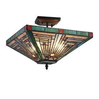 Gracewood Hollow Kamatenda 2-light Mission-style Stained Glass Semi-flush Mount