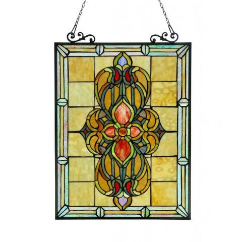 Chloe Tiffany Style Victorian Design Window Art Glass Panel - Multi-Color - (As Is Item)