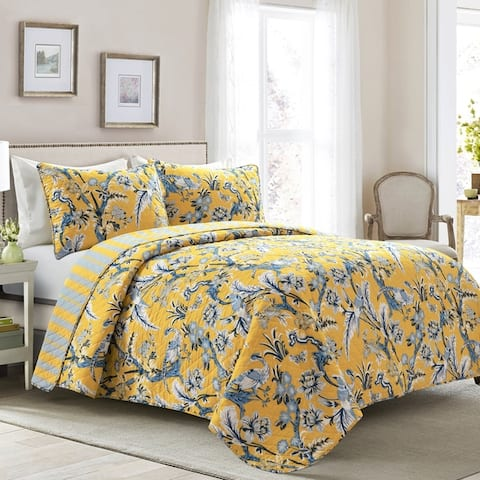 Lush Decor Dolores 3 Piece Cotton Quilt Set