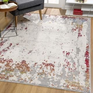Rug Branch Vogue Modern Abstract Area Rug, Beige Red