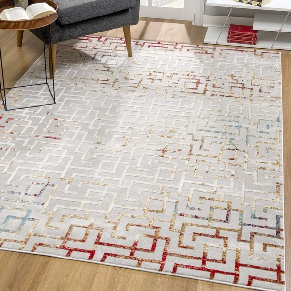 Rug Branch Vogue Modern Abstract Area Rug, Grey / Red / Blue