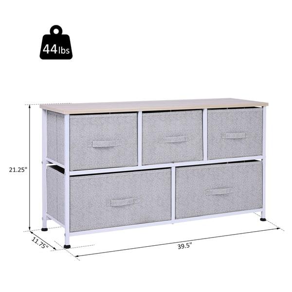 White 5 Drawer Storage Cube Dresser