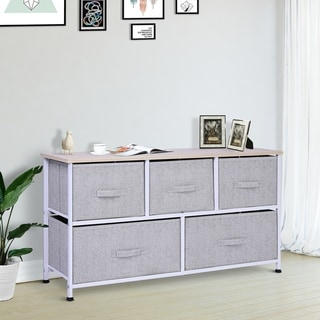 Link to Porch & Den Dow Grey/ White 5-drawer Storage Cube Dresser with Fabric Bins Similar Items in Bedroom Furniture