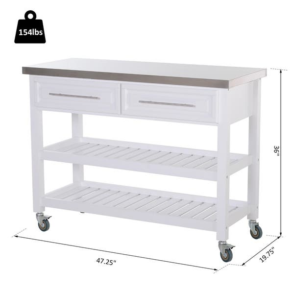 Shop HOMCOM Rolling Kitchen Island Cart with Drawers ...