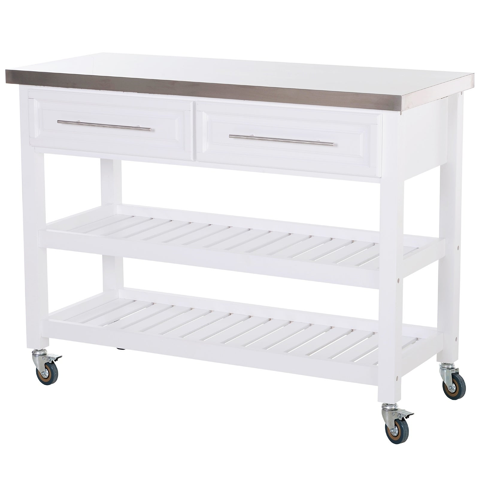 Shop Homcom Rolling Kitchen Island Cart With Drawers Shelves And Stainless Steel Top White On Sale Overstock 29812700