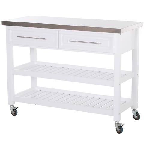 HOMCOM Rolling Kitchen Island Cart with Drawers, Shelves, and Stainless Steel Top - White