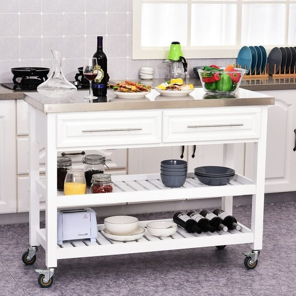 Homcom Rolling Kitchen Island Cart With Drawers Shelves And Stainless Steel Top White On Sale Overstock 29812700