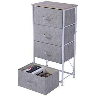 HOMCOM 4-Drawer Fabric Storage Organizer Dresser Vertical Tower Metal Frame Living Room Shelf with Bin
