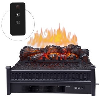 HomCom Electric Faux Fireplace 4777 BTU Heater with Realistic Ember Bed Flames and Remote Control - N/A