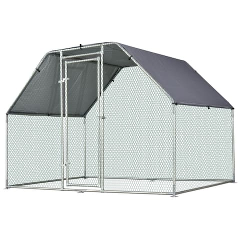 Pawhut Galvanized Metal Chicken Coop Cage with Cover, Walk-In Pen Run, 9' W x 6' D x 6.5' H - N/A