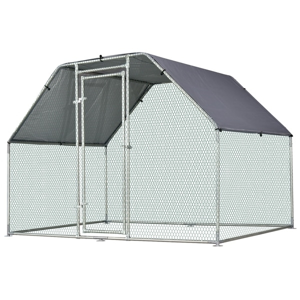 Pawhut Galvanized Metal Chicken Coop Cage with Cover, Walk-In Pen Run, 9' W x 6' D x 6.5' H - N/A. Opens flyout.