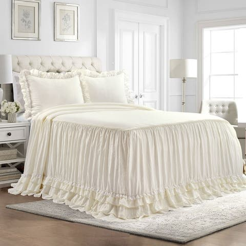Lush Decor Ella Shabby Chic Ruffle Lace Bedspread Set