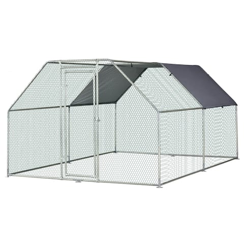 PawHut Galvanized Metal Chicken Coop Cage with Cover, Walk-In Pen Run, 9' W x 12' D x 6.5' H
