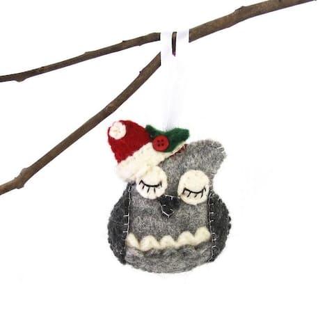 Handmade Felted Wool Christmas Ornament, Owl