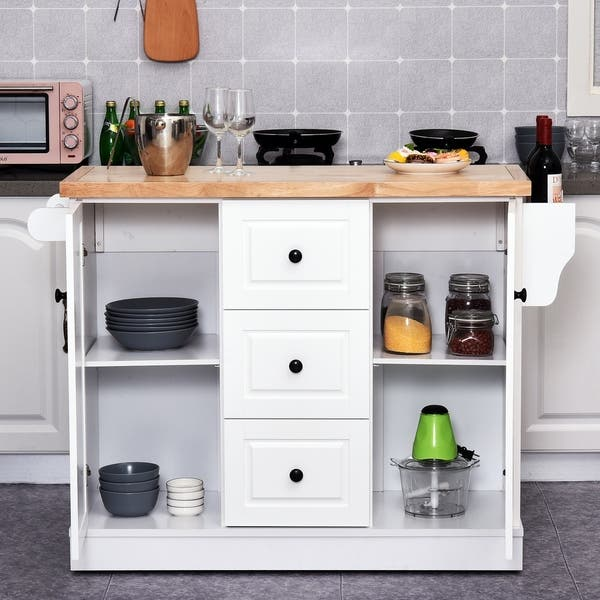 Shop HOMCOM Wooden Mobile Kitchen Island Cart with Drawers ...