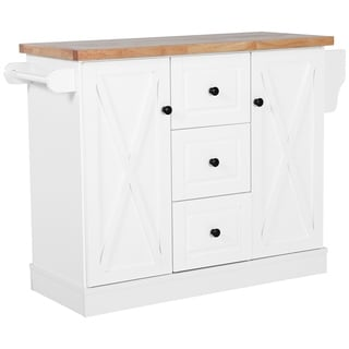 HOMCOM Wooden Mobile Kitchen Island Cart with Drawers and Wheels - White