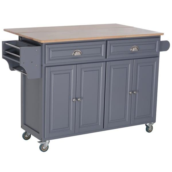 HOMCOM Rolling Oak Wood Drop-Leaf Kitchen Island Cart with Storage and Butcher Block - Grey