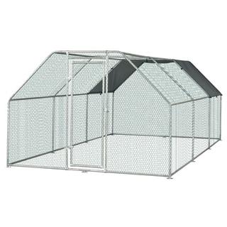 Link to Pawhut Galvanized Metal Chicken Coop Cage with Cover, Walk-In Pen Run - N/A -  9' W x 18.5' D x 6.5' H Similar Items in Chicken Coops & Pens