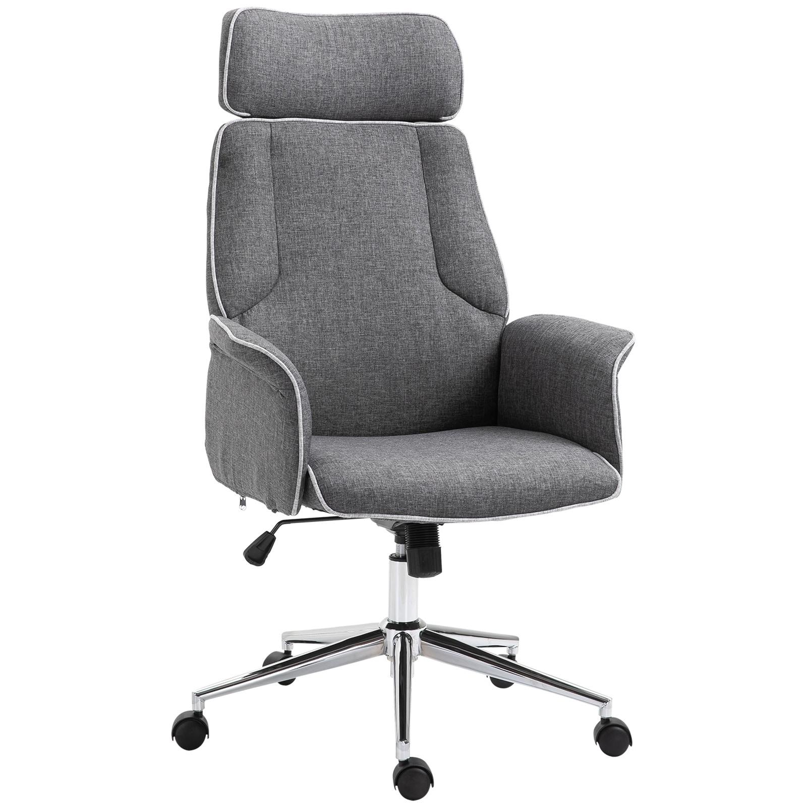 Cushioned  Adjustable Computer Desk Office Chair Swivel Chrome Leg Fabric Grey