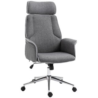 Vinesetto Adjustable Linen Fabric Swivel Home Office Chair with Arms, Upholstered, High Back, Grey