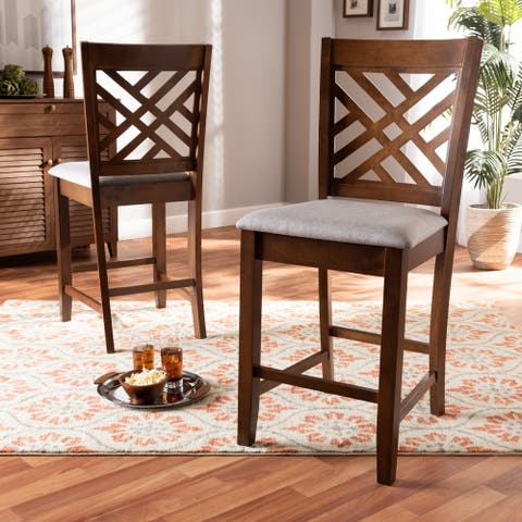 Caron Modern and Contemporary Upholstered 2-Piece Wood Pub Chair Set
