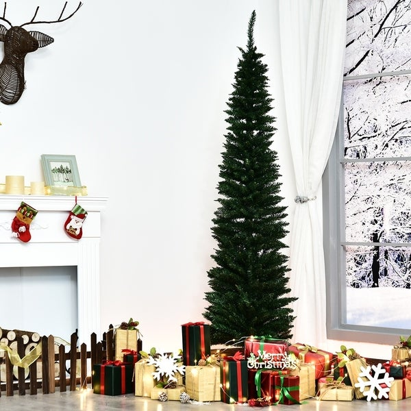 7' PVC Unlit Slim Pencil Hinged Artificial Noble Fir Christmas Tree, 390 Branch Tips, Stand, Green. Opens flyout.