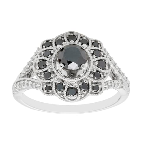 Sterling Silver 1cttw Black Diamond Engagement Ring