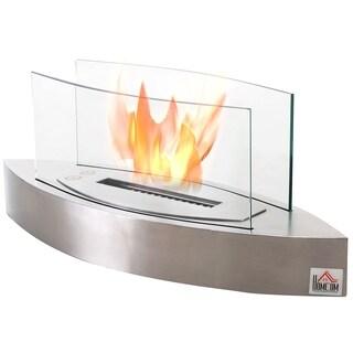HOMCOM Portable Tabletop Ventless Bio Ethanol Fireplace Glass - N/A