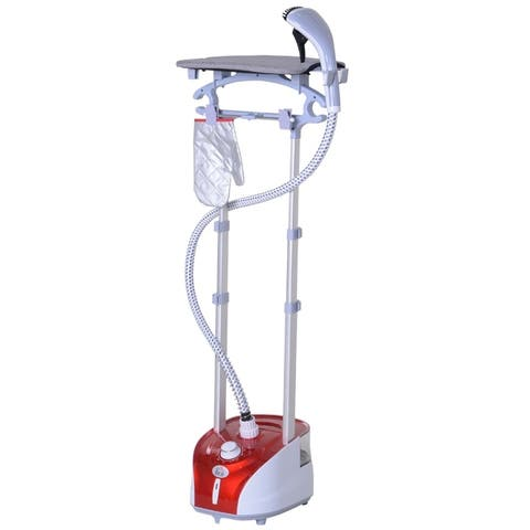 HomCom 1350W Upright Fabric Garment Steamer with Built-in Ironing Board and Hanger, 2L Water Tank