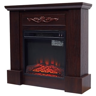 "Link to HomCom Freestanding Electric Fireplace Heater with Mantel Wood 1400W 30""H - N/A Similar Items in Fireplaces"