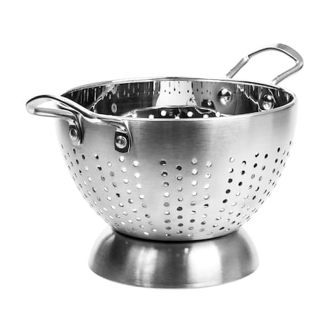 High Quality Stainless Steel Deep Colander / Strainer With Handle - 3 Quart