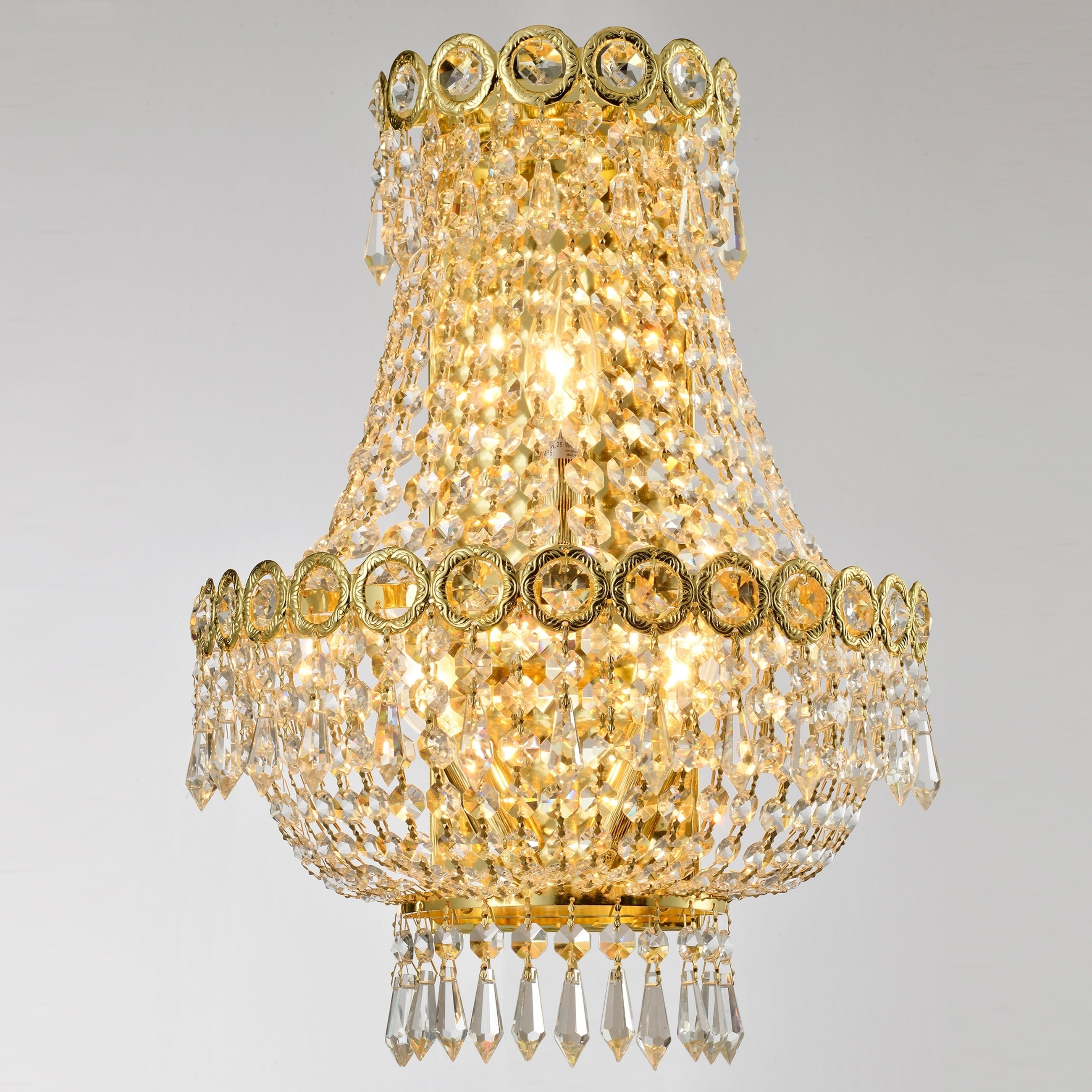 Image of: Shop French Empire 3 Light 12 In Gold Finish Crystal Wall Sconce Light Medium Medium Wall Sconce Overstock 29813798