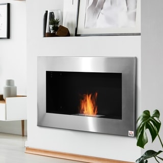 """HOMCOM 35.5"""" Contemporary Wall Mounted Ventless Indoor Bio Ethanol Fireplace - Stainless Steel - N/A"""