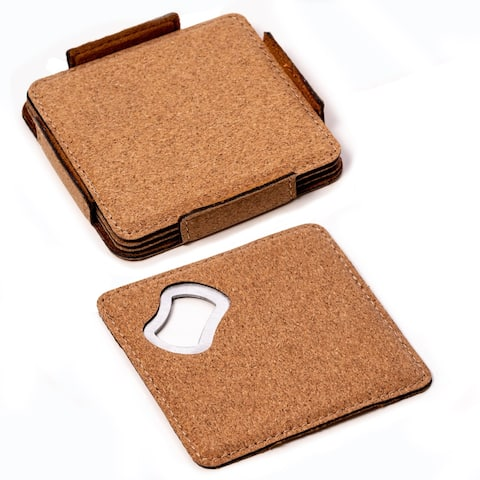 Cameron 4 Cork Coasters Set with Bottle Opener