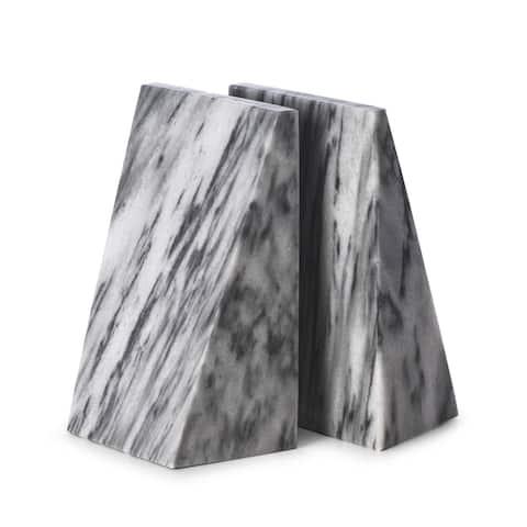 Harold Carrera Grey Marble Wedge Bookends