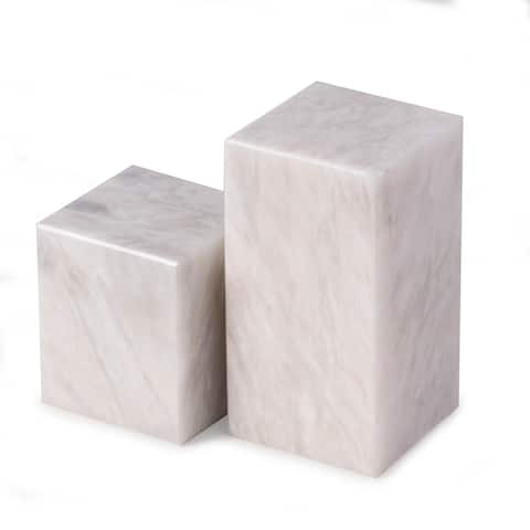 Hathaway White Marble Cube Design Bookends