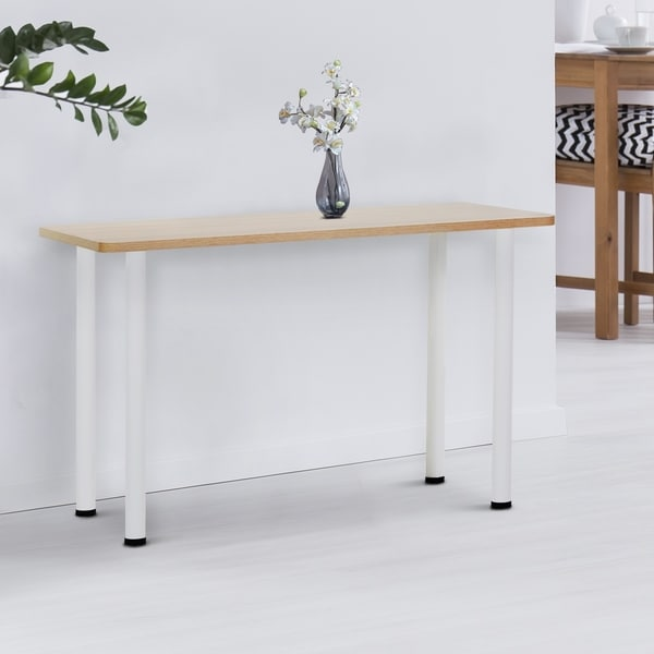 """HomCom 47"""" Narrow Console Table for Entryway Stainless Steel Legs Wood Top - Oak and White"""
