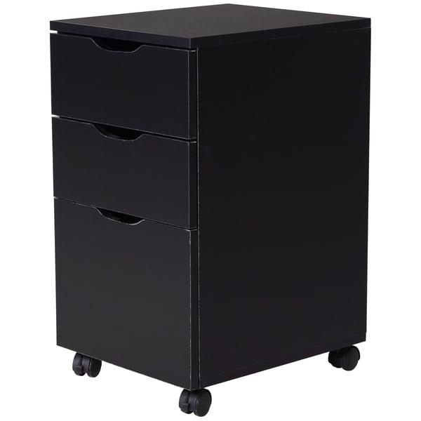 """HomCom 3 Drawer File Cabinet, Rolling Vertical A4 Paper Letter Binder, 14"""" D. Opens flyout."""