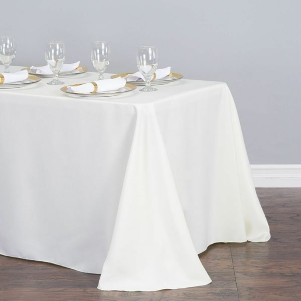 "Polyester Linen Rectangle Table Cloth 90"" x 156"" White"