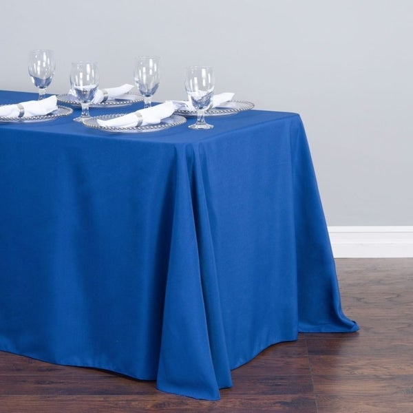 "Polyester Linen Rectangle Table Cloth 90"" x 156"" Royal Blue"