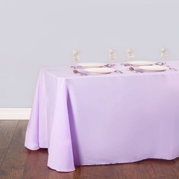 """Polyester Linen Rectangle Table Cloth 90"""" x 156"""" Lavender"""